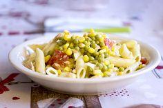 Salade de pâtes petits pois, maïs, thon et tomate : une recette de plat facile