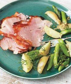 Apricot-Glazed Ham With Potatoes and Asparagus recipe
