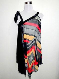 vintage black geometric sleeveless top or mini by VintageHomage, $18.00