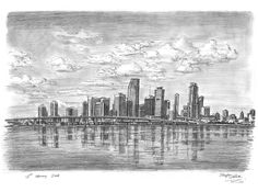 Miami Skyline - drawings and paintings by Stephen Wiltshire MBE