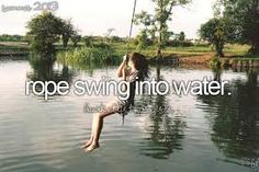 Not sure if it was actually swinging into water, more like sliding down the rope and falling into the river!!