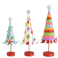Glittered Trees - Set of 3