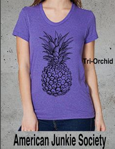 Pineapple Design Set T-Shirt.  Women's American Apparel soft Tri-blend T-Shirt  Summer vacation Pine apple S M L  XL (7 Colors Available) by AmericanJunkieSoc on Etsy