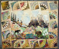 quilt, love the new york beauty blocks as a border  - 'Too Many Bears or Glacier Visit' by Martha Turner