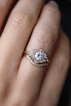 Gorgeous Gold Non-Traditional Vintage Engagement Ring. // See more: 18 Unique Vintage Engagement Rings that Will Make You Want to Go Back in Time. // mysweetengagement.com/unique-vintage-engagement-rings // #UniqueEngagementRing #EngagementRing #VintageEngagementRing #VintageWedding #ArtDeco