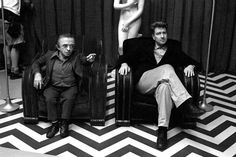 Michael J. Anderson (The Man From Another Place) & director David Lynch on the set of Twin Peaks: Fire Walk With Me. Photo by Richard Beymer (a.k.a. Ben Horne).