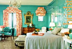 I have always loved this room!  SF Decorators' Showhouse (can't remember the year) Quadrille, China Seas, Alan Campbell, Home Couture