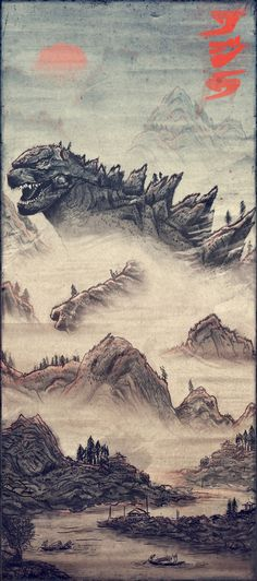 Godzilla 2014 Chinese style-like art! Awesome! :3