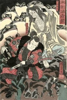 Utagawa Kuniyoshi (歌川 国芳), Tenjiku Tokubei and Gama no Sennin, from the series Mirror of Warriors of Our Country (Honchô musha kagami) 1855 Japanese Drawings, Japanese Artwork, Japanese Tattoo Art, Japanese Painting, Japanese Prints, Grand Art, Japanese Monster, Japanese Warrior, Traditional Japanese Art