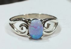 925 Sterling silver Blue Opal  Ring by ZivDesigns on Etsy, $29.00