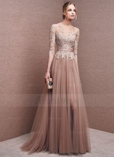 A-Line/Princess Scoop Neck Floor-Length Appliques Lace Split Front Tulle Zipper Up Covered Button Sleeves 1/2 Sleeves No Other Colors Spring Summer Fall Evening Dress