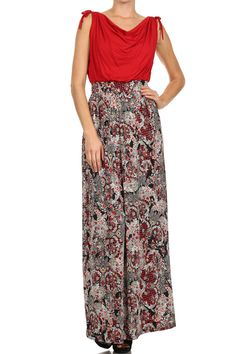 #D8857-1 Duo fabric, paisley print, cowl neck, maxi dress with drawstring at shoulders.
