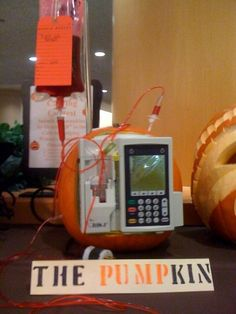 Hospital IV infused Halloween pumpkin. HAHA!