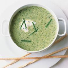 Broccoli-Leek Soup with Lemon-Chive Cream | Food & Wine