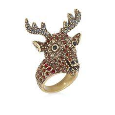 """Heidi Daus """"Rudy"""" Crystal-Accented Reindeer Ring"""