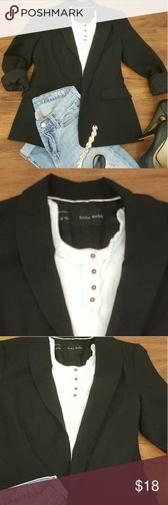 Zara basic black jacket In good condition no rips or stains  Black jacket for every day use Zara Jackets & Coats Blazers