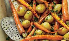 Roasted carrots and new potatoes with gremolata: The perfect side dish to serve up with a late spring roast. Photograph: Colin Campbell for the Guardian Carrot Dishes, Carrot Recipes, Vegetable Recipes, Whole Food Recipes, Vegetarian Recipes, Healthy Recipes, Carrot Soup, Potato Dishes, Spicy Carrots