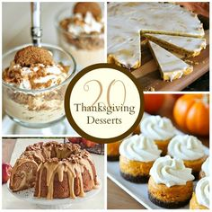 With about two weeks left until Thanksgiving I'm sure most of you are putting together your menus for the day.  Do you keep it traditional and do the basic pumpkin pie, apple pie, pecan pie......or do you mix things up and get your bake on?  There are so many incredibly recipes that are perfect for Turkey Day.  Today I'm sharing 20 Thanksgiving Desserts that are sure to please...