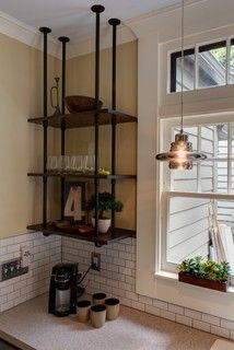 Pipe wood shelves hung upside down -Kitchen Cabinet alternatives-East Grand Rapids Kitchen Remodel industrial kitchen. Love the pipe shelves. Brought to you by LG Studio Vintage Industrial Furniture, Industrial House, Kitchen Industrial, Vintage Wood, Industrial Design, Industrial Style, Bronze Kitchen, Industrial Farmhouse, Vintage Decor
