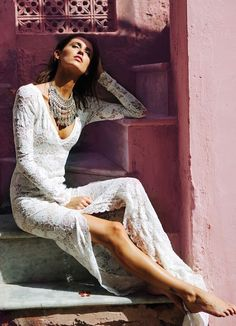 Stylish bohemian style Grace Loves Lace wedding dress. Click through to see more;