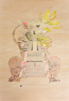 #KatarzynaBudka #Guardian #ink #playwood #drawing , I've been inside, www.projectbu.com