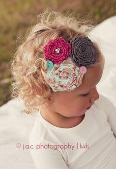 shabby chic headbands oh how I wish Emma hair was like this!