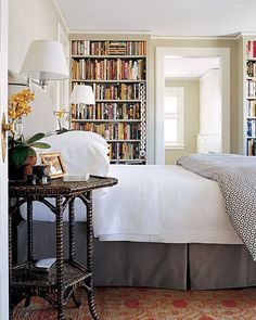 Reader's Delight  In this master bedroom, an upholstered headboard is ideal for reading in bed. Wall lamps provide proper lighting while freeing up space on the end tables.