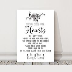 Buy 2 Get 1 FREE! A4 Personalised Drop Box Sign Hearts Guest Book Metal Table Sign / Plaque for Vintage Wedding