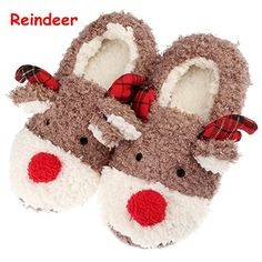 Slippers for Women Cute Reindeer Animal Fluffy Womens House Indoor Autumn Winter Ladies Female Slippers Shoes Comfortable Slipon Memory Foam Non Skid Home Girls Slippers for Christmas Gift * Read more info by clicking the link on the image. #ChristmasGift
