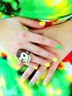 Yellow and green nails