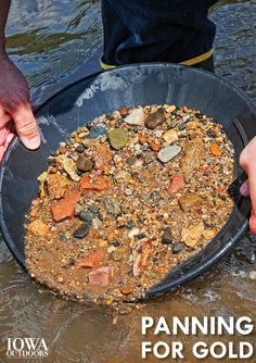 Panning for Gold - in Iowa! - DNR News Releases Gold Mining Equipment, Gem Hunt, Panning For Gold, Scrap Gold, Colorado, Gold Prospecting, Rock Hunting, Get Outdoors, Gold Rush
