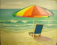 Umbrella on the beach Oil painting 8 X 10 inches by MARVINSTUDIO, $25.00 Great for Christmas
