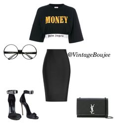 Untitled #96 by vintageboujee on Polyvore featuring polyvore moda style Palm Angels Roland Mouret Dsquared2 Yves Saint Laurent ZeroUV fashion clothing