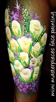 Flower arm design  Yellow roses using party xplosion face paints