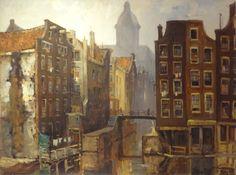 Jan Korthals, 1916-1972, Het Kolkje Amsterdam, Olie schidering