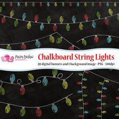 Chalkboard String Lights bunting clipart. di PolpoDesign su Etsy