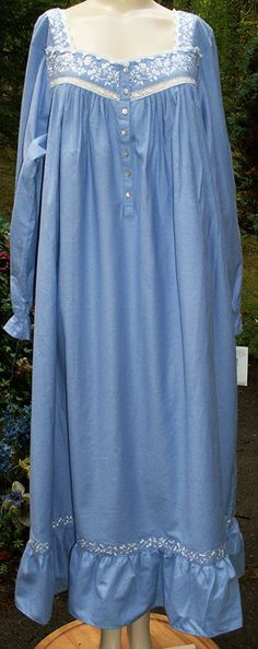 NEW! EILEEN WEST Blue Cotton Flannel Long, Full Nightgown! XL #EileenWest #Gowns