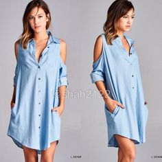 "New denim open shoulder shirt tunic dress S,M Or L NWT denim long sleeves cold open shoulders shirt tunic sexy dress.open front with Button down / closure. Oversized dress..Collar Front pocket. Two side hidden pockets.hi lo low  U hem. Nice weight fabric. No sheer or see through.   Total length: S-L (36""-38"") Sleeves length: roll up or leave long. Armpit to armpit: S-L (21.5""-24"") boutique Dresses Mini"