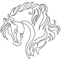 Free Animal Wood-Burning Patterns   Beautiful Horses Outline Embroidery Designs Set