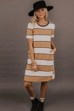 0d98a9659950b Striped Dress | ROOLEE Modest Dresses, Nice Dresses, Striped Dress, Knit  Dress,