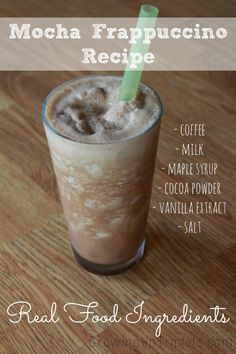 Mocha Frappuccino Recipe - with Real Food Ingredients www.GrowingUpTrip... #recipe #drink #coffee #mocha