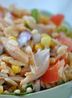 Mexican Chicken Orzo Salad using Rotisserie Chicken! Can't be easier than that - nutritious and So yummy! www.hollyclegg.com thehealthycookingblog.com