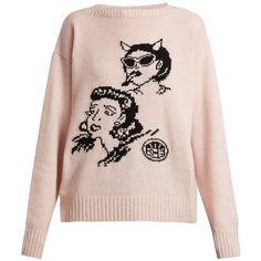 Prada Graphic-intarsia wool and cashmere-blend sweater (€860) ❤ liked on Polyvore featuring tops, sweaters, pink sweater, intarsia sweaters, cartoon sweater, comic sweater and boat neck tops