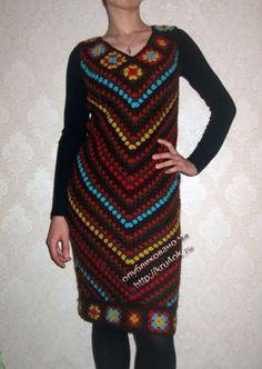 Теплое платье крючком — работа Маргариты. Вязание крючком.