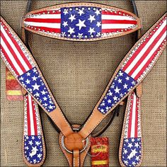 HILASON WESTERN LEATHER HORSE BRIDLE HEADSTALL BREAST COLLAR HAND PAINT US FLAG