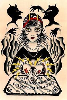 tatuajes brujas Neo Traditional Tattoo, American Traditional, Diadem Tattoo, Arte Horror, Fortune Teller, Flash Art, Illustrations, Vintage Halloween, Dark Art