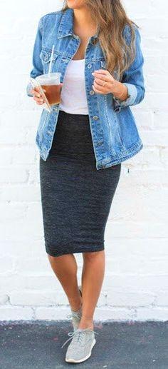 Denim Jacket + Grey Pencil Skirt + Grey Sneakers