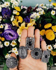 5 botões de flores  #lojaamei #flores #anéis #acessórios #muitoamor