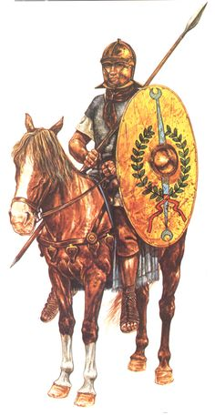 """0100 c. Auxiliary cavalryman of the Early Roman Empire. by John Warry's """"Warfare in the ancient world"""", illustration by Jeff Burn: Roman Legion, Empire Romain, Medieval World, Roman Soldiers, Roman History, Dark Ages, Ancient Rome, Military Art, Roman Empire"""