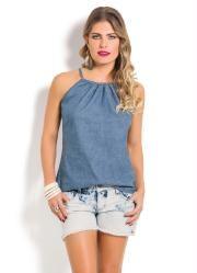 Blusa Jeans (Azul Claro) com Amarração no Decote